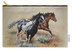 Carry-all Pouch featuring the painting Mustang Glory by Kim Lockman