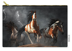Carry-all Pouch featuring the digital art Mustangs Of The Storm by Daniel Eskridge