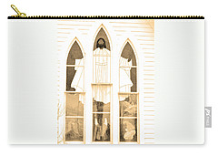 Carry-all Pouch featuring the photograph My Fathers Church Window by Lenore Senior