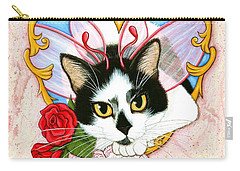 Carry-all Pouch featuring the painting My Feline Valentine Tuxedo Cat by Carrie Hawks