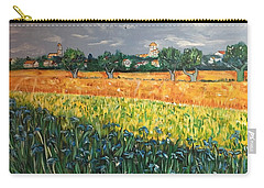 My View Of Arles With Irises Carry-all Pouch by Belinda Low