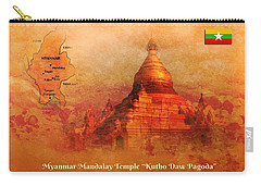 Carry-all Pouch featuring the digital art Myanmar Temple Kutho Daw Pagoda by John Wills