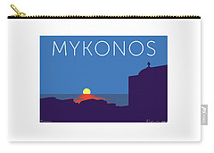 Mykonos Sunset Silhouette - Blue Carry-all Pouch