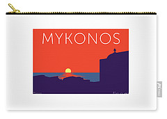 Mykonos Sunset Silhouette - Orange Carry-all Pouch