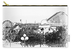 Carry-all Pouch featuring the mixed media Myrtle Beach Pavillion Amusement Park Monotone by Bob Pardue