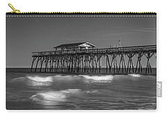 Myrtle Beach Pier Panorama In Black And White Carry-all Pouch by Ranjay Mitra