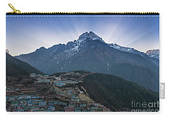 Carry-all Pouch featuring the photograph Namche And Thamserku Peak Morning Sunrays by Mike Reid