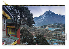 Carry-all Pouch featuring the photograph Namche Monastery Morning Sunrays by Mike Reid
