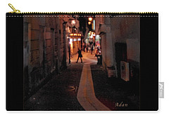 Carry-all Pouch featuring the photograph Narrow Red Street, Paris by Felipe Adan Lerma