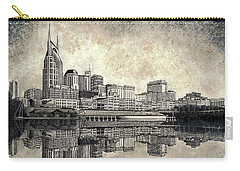 Carry-all Pouch featuring the mixed media Nashville Skyline II by Janet King
