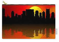 Nashville Skyline Sunset Reflection Carry-all Pouch by Dan Sproul