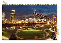 Carry-all Pouch featuring the photograph Nashville Twilight Skyline by Brian Jannsen
