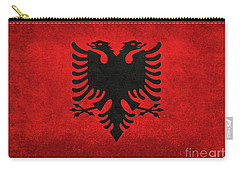 Carry-all Pouch featuring the digital art National Flag Of Albania With Distressed Vintage Treatment  by Bruce Stanfield