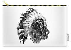 Carry-all Pouch featuring the mixed media Native American Chief Black And White by Marian Voicu