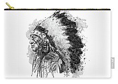 Carry-all Pouch featuring the mixed media Native American Chief Side Face Black And White by Marian Voicu