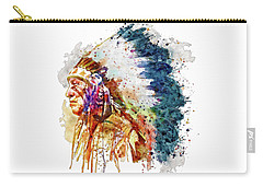 Native American Chief Side Face Carry-all Pouch by Marian Voicu