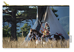 Native American In Full Headdress In Front Of Teepee Carry-all Pouch by Nadja Rider
