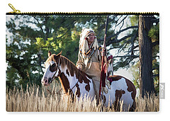 Native American In Full Headdress On A Paint Horse Carry-all Pouch by Nadja Rider