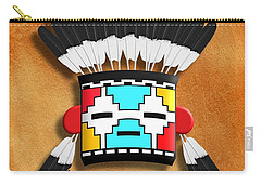 Carry-all Pouch featuring the digital art Native American Indian Kachina Mask by John Wills