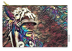 Plains Indian Warrior With Buffalo Headdress In The Trees Carry-all Pouch