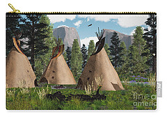 Native American Mountain Tepees Carry-all Pouch by Walter Colvin
