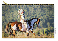 Native American On His Paint Horse Carry-all Pouch by Nadja Rider