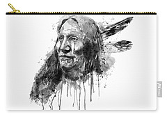 Carry-all Pouch featuring the mixed media Native American Portrait Black And White by Marian Voicu