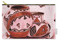 Carry-all Pouch featuring the painting Native American Pottery Mosaic by Paula Ayers
