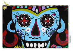 Carry-all Pouch featuring the painting Native Dia De Los Muertos Skull by Pristine Cartera Turkus