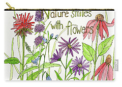 Nature Smile With Flowers Carry-all Pouch