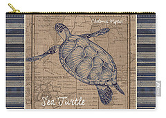 Nautical Stripes Sea Turtle Carry-all Pouch by Debbie DeWitt
