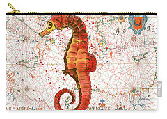 Carry-all Pouch featuring the painting Nautical Treasures-i by Jean Plout