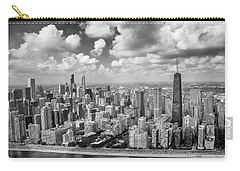 Carry-all Pouch featuring the photograph Near North Side And Gold Coast Black And White by Adam Romanowicz