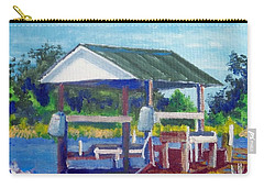 Carry-all Pouch featuring the painting Neighbor's Boat Dock by Jim Phillips