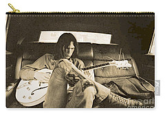 Neil Young In The Backseat Carry-all Pouch by John Malone
