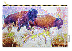Carry-all Pouch featuring the digital art Neon Bison Pair by Ray Shiu