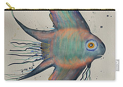 Carry-all Pouch featuring the mixed media Neon Blue Fish by Walt Foegelle