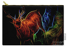 Carry-all Pouch featuring the digital art Neon Buck by Ray Shiu