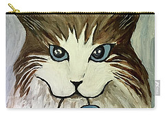 Carry-all Pouch featuring the painting Nerd Cat by Victoria Lakes