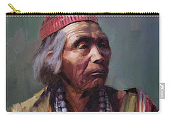 Carry-all Pouch featuring the painting Nesjaja Hatali Medicine Man Of The Navajo People by Steve Henderson