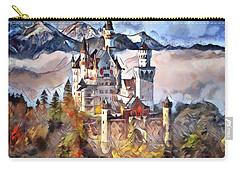 Carry-all Pouch featuring the digital art Neuschwanstein Castle by Pennie McCracken