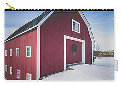 Carry-all Pouch featuring the photograph New England Red Barn Winter Orford by Edward Fielding