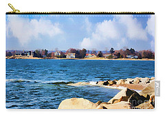 New England Shoreline - Painterly Carry-all Pouch by Judy Palkimas