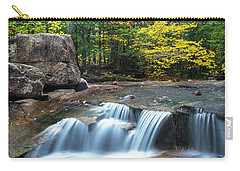 Carry-all Pouch featuring the photograph New Hampshire Dianas Bath Waterfalls In Fall Foliage by Ranjay Mitra