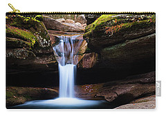 Carry-all Pouch featuring the photograph New Hampshire Sabbaday Falls And Fall Foliage Panorama by Ranjay Mitra