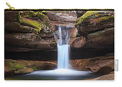 Carry-all Pouch featuring the photograph New Hampshire Upper Sabbaday Falls And Fall Foliage by Ranjay Mitra
