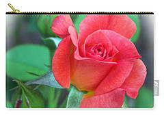 New Life In A Coral Rosebud Carry-all Pouch