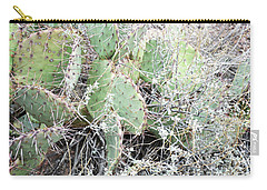 Carry-all Pouch featuring the photograph New Mexico Green Prickly Pear Cactus by Andrea Hazel Ihlefeld