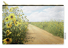 Carry-all Pouch featuring the photograph New Mexico Sunflower Road by Andrea Hazel Ihlefeld