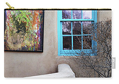 Carry-all Pouch featuring the photograph New Mexico Turquoise Window Landscape by Andrea Hazel Ihlefeld